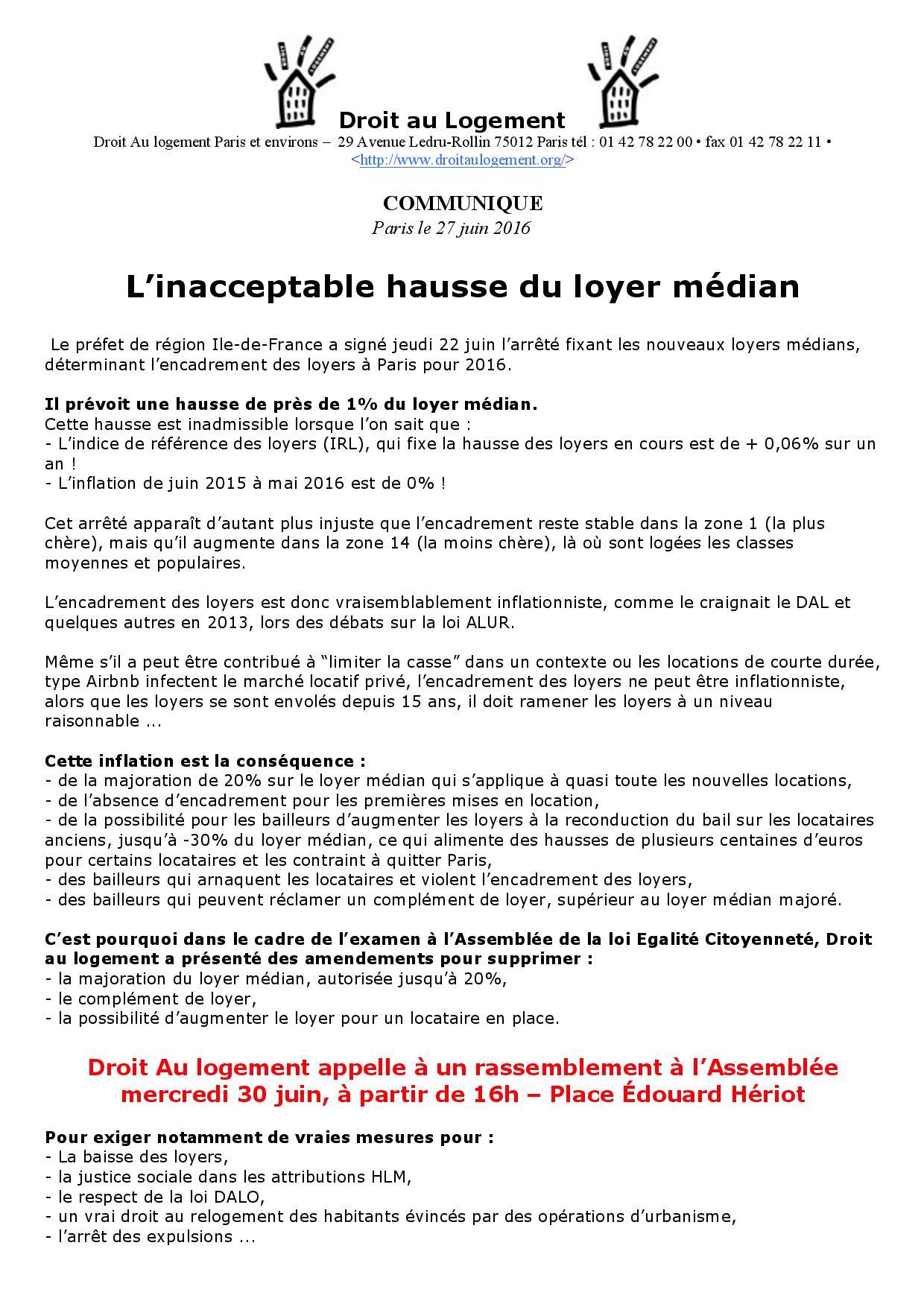 Communique L Inacceptable Hausse Du Loyer Median Droit Au Logement